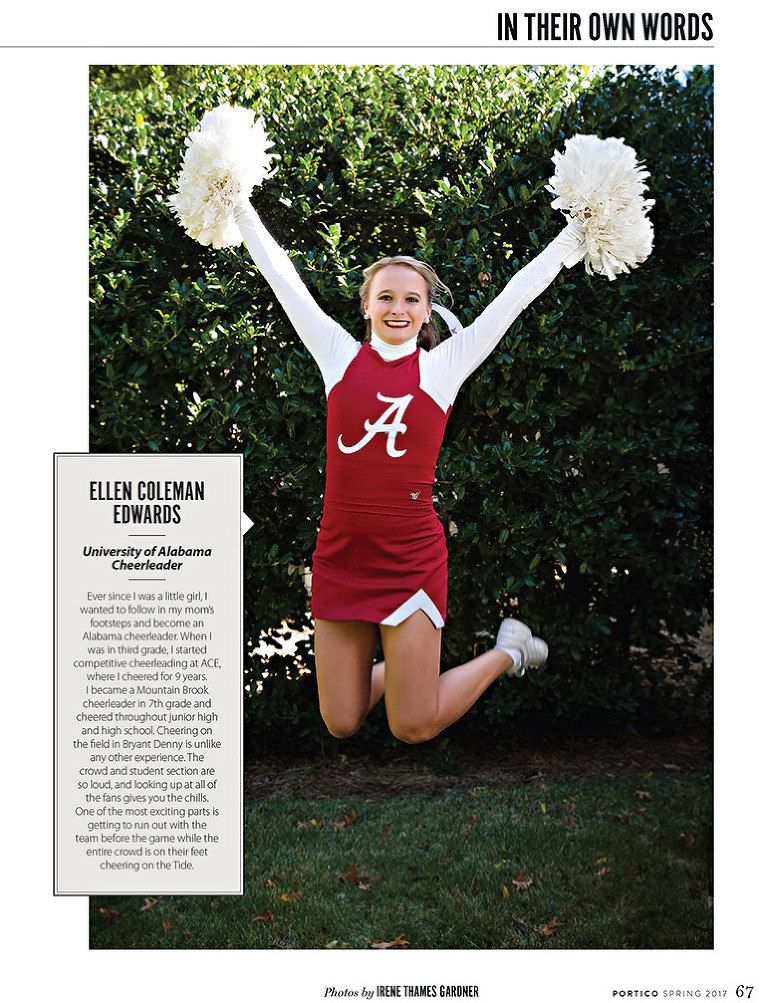 Cheerleader jumping in the air for Portico magazine