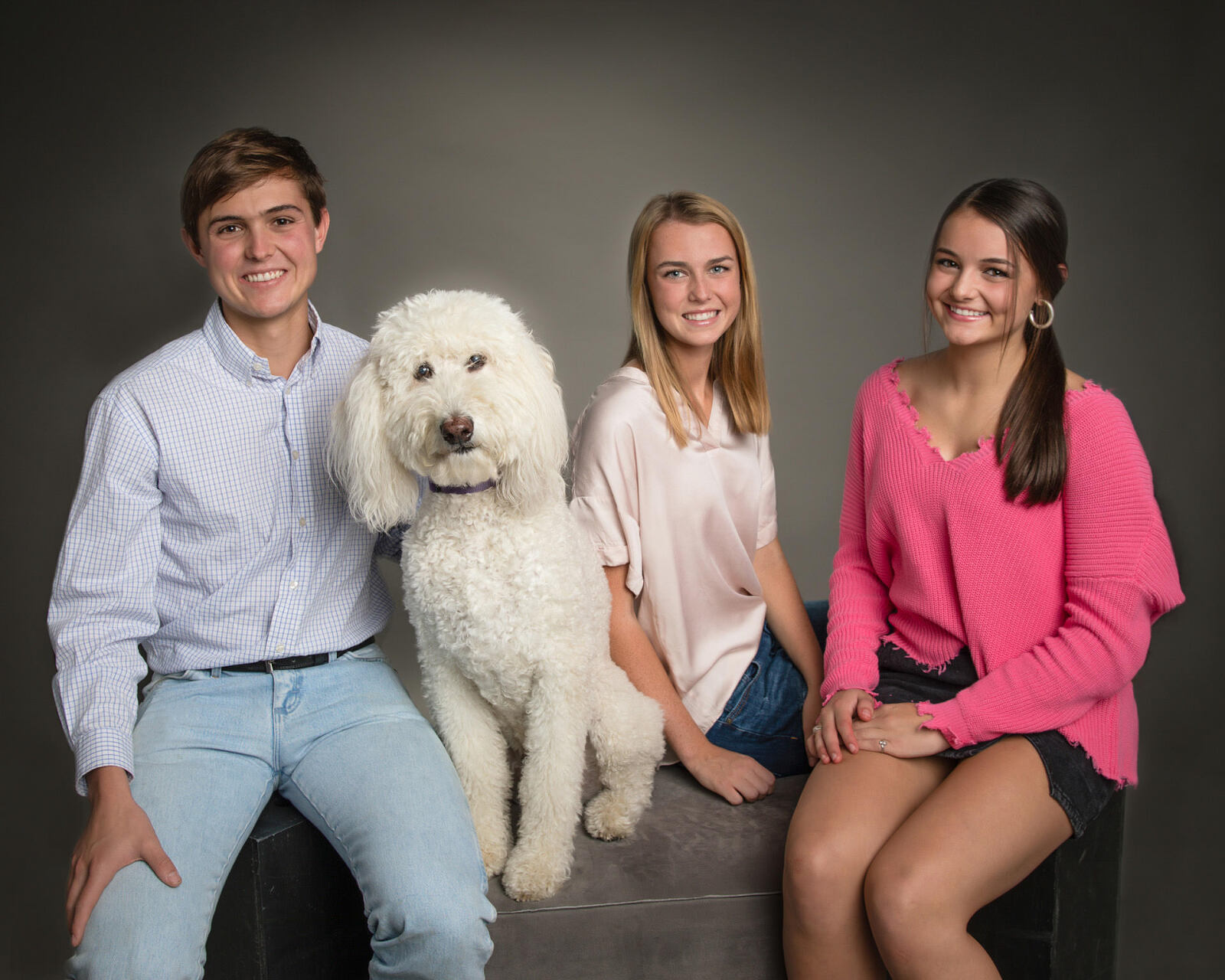 Studio family picture for a Christmas card in Birmingham, Alabama by Irene Gardner